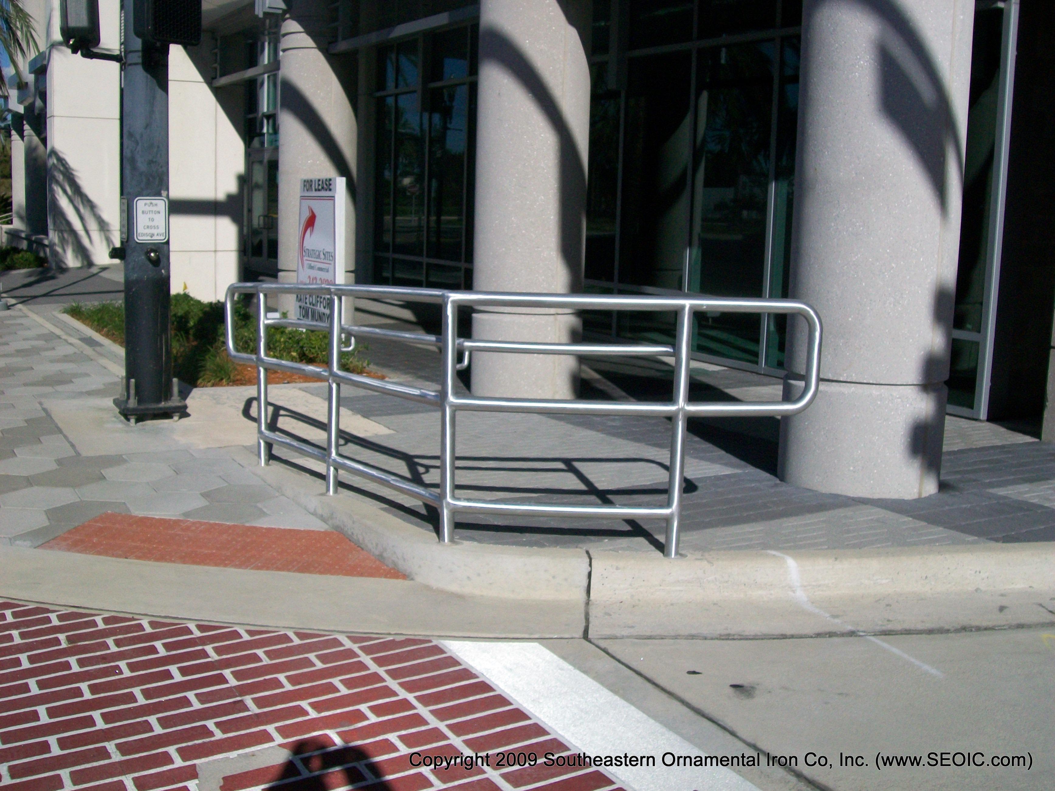 Commercial Railing Decorative Art Deco Glass Handicap Fdot