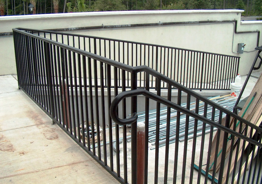 Commercial Railing Decorative Art Deco Glass Handicap Fdot