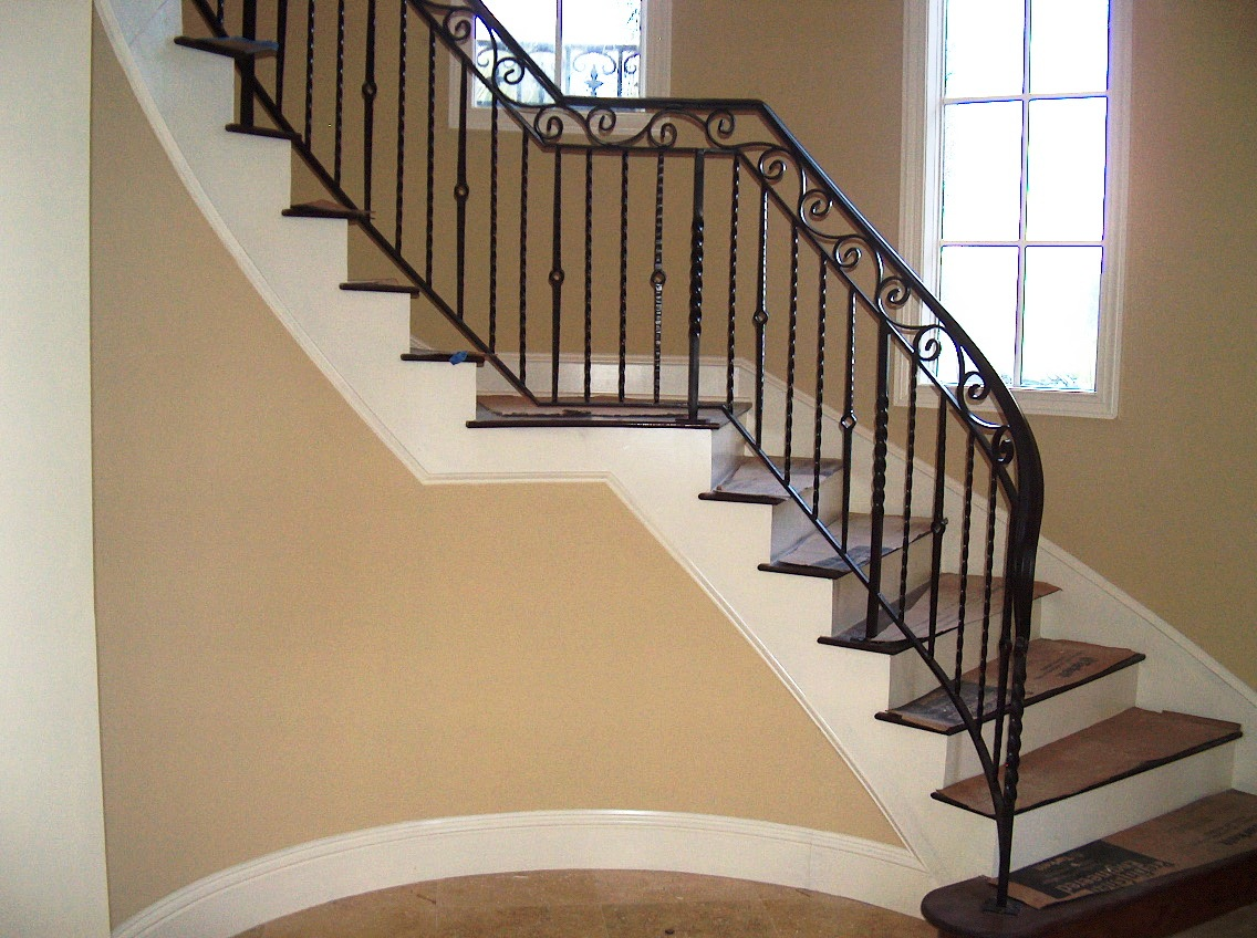 ... Iron Stair Railing W/ Hand Forged Top Scroll (#SR 60) ...