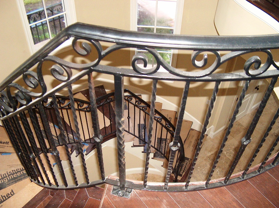 ... Iron Stair Railing W/ Hand Forged Top Scroll (#SR 61) ...
